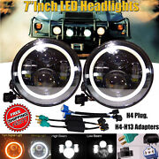 For Hummer H1 H2 Truck 7inch 120w Led Halo Angel Eye Headlight Lamp H4-h13 Drl