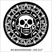 Pirate Skull Medallion Decal Sticker Car Truck Window Lap Top - Many Colors