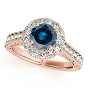 1.50 Ct. Halo Blue Diamond Engagement Wedding Ring In 14k Solid Gold