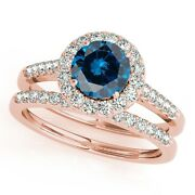 1.50 Ct. Halo Blue Diamond Bridal Set In 14k Solid Gold