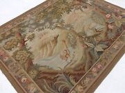 5'.2 X 6'.3 Pictorial Fine Quality French Tapestry Wool Hand Knotted Wall