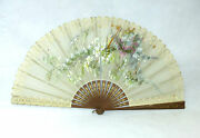 Xxl Large Subjects Silk Fan 19 Jh France Hand Painted Signed For Gardon