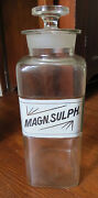 Antique Magnesium Sulfate Label Under Glass Large Apothecary Bottle