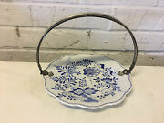 Antique Dutch Blue And White Blue Onion Plate / Tray W/ Silver Handle