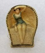 Antique Bathing Beauty In Cabana Tape Measure C1920's, Rare And Adorable