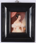 August Grahl 1791-1868 Young Lady In White, High Quality Miniature, Ca. 1835