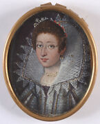 Portrait Of An Aristocratic Lady Royalty Oil On Copper Miniature Ca.1615