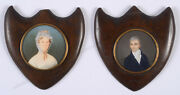 Valeris Husband And Wife Two Miniatures In Unsual Frames Ca. 1810