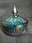 Indiana Glass Iridescent Blue Carnival Princess Cover Candy Bowl