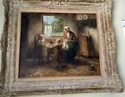 Cornelius Wouter Bouter 1888-1966 Mother And Children 20x24 Oil Framed