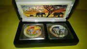 African Wildlife 2014 Colored Jubilee 2 Coin Set Extremely Rare Only 500 Sets