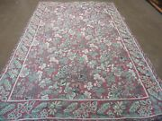6and039 X 9and039 Vintage Indian Embroidery Hand Stitched Asmara Kashmir Rug Wool Nice