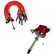 Fits Sbc Bbc 305 350 454 V8's Hei Distributor And 10.5 Mm Red 90 Spark Plug Wires