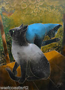 Jom Sun Kim Painting Siamese Cats And Butterfly Korean Listed Contemporary Artist