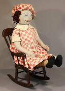 Wonderful Homemade Cloth Doll - In Red Check Dress And Cap