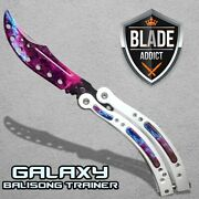 Csgo Practice Knife Balisong Butterfly Trainer - Non Sharp Dull - White Galaxy