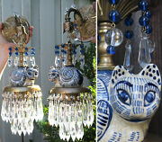Pair Porcelain Cat Beaded Crystal Ball Sconces Brass Vintage Lamp Prisms Deco In