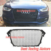 Rs4 Style Front Grille Gloss Black Frame + Honeycomb Fit 13-16 Audi A4 S4 B8.5