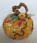 Rare Fitz And Floyd Large Harvest Heritage Pumpkin Soup Tureen With Ladle