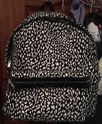 Y S L Black And White Printed Canvas Hunter Backpack