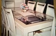 Oak Dining Room Set 10 Chairs, Beveled Glass Inserts And Matching Sideboard