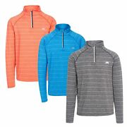Trespass Birney Mens Long Sleeve Active Fitness Gym Top In Orange Blue And Grey
