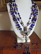 Antique Spanish Colonial Tupo Pin Necklace Hand-poured Cobalt Blue Glass Silver