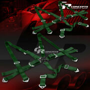 2x 6-point 3wide Green Strap Harness Safety Camlock Style Racing Seat Belt+bolt