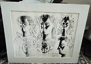 Byron Browne Signed Dated Original Faces Penandink And Wc On Paper 1954