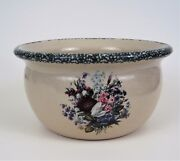 Casey Pottery Bowl Planter Dish Country Floral Bouquet Marshall TX Hand Thrown