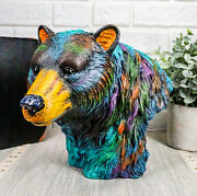 Colorful Grizzly Bear Bust Figurine 7h Wild Life Animal Sculpture