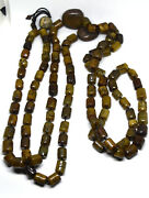 Antique Chinese Hand Carved Jadeceladonagate Rosary Necklace 70 Long