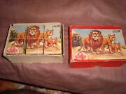 Old Vintage Wooden Block Jigsaw Puzzle Game With Box From India 1950