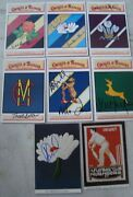 8 Old Vintage Color Crust And Badges First Class Cricket Clubs Picture Post Cards