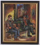 Hedi Schick Two Men On The Bank Pastel 1940 The New Objectivity