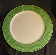 "Tiffany & Co Basketweave Pottery Large Round Platter 16"" Green Border Italy"