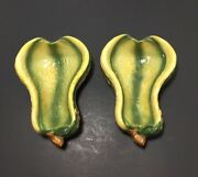"""2 YELLOW GREEN  BOWL 7"""" SQUASH POTTERY DISHES"""