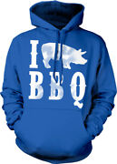 I Love Bbq Pig 3 Heart Barbecue Pork Grill Eat Pulled Ribs To Hoodie Sweatshirt