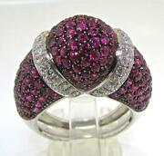 Valente Milano Italy 18 Kt White Gold Pink Sapphires And Diamonds Ring Size 7.25