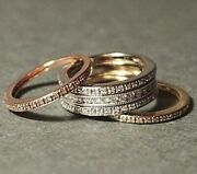 Wedding Bands Stacked 14k Whiteyellow And Rose Gold Diamond Encrusted Rings