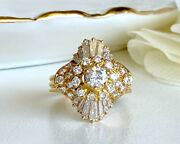 Gorgeous Vintage 18kt Gold And Vs Diamonds 2.06ctw Ballerina Ring, Size 5.25