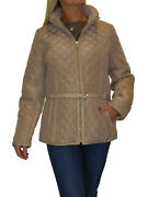 Womens Plus Size Quilted Jacket Hood Lightweight With Belt Beige New 12-20