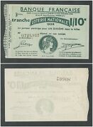 France 1936 Loterie Nationale Ticket 1/10 Banque Francause