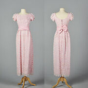 M 1960s Pink White Lace Pencil Dress Wedding Party Outfit Spring Summer 60s Vtg