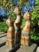 Hand Carved Made Wooden Rainbow Cat Cats Statues Set Of 3 Sculpture Ornaments
