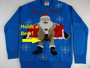 Menand039s Ugly Christmas Sweater Holds A Beer Holder Santa Flashing Holiday New