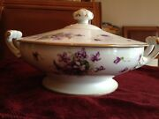 Rosetti, Spring Violets Fine China Serving Bowl With Lid, Made In Occupied Japan