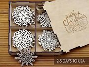 Set Of 24x Christmas Tree Ornaments Wooden Snowflake Decorations Rustic Gift Box