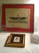 Pair Of 2 Framed Egyptian Papyrus Art Winged God And Painted Jug