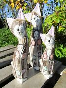 Hand Carved Made Wooden Shabby Cat Cats Statues Set Of 3 Sculpture Ornaments